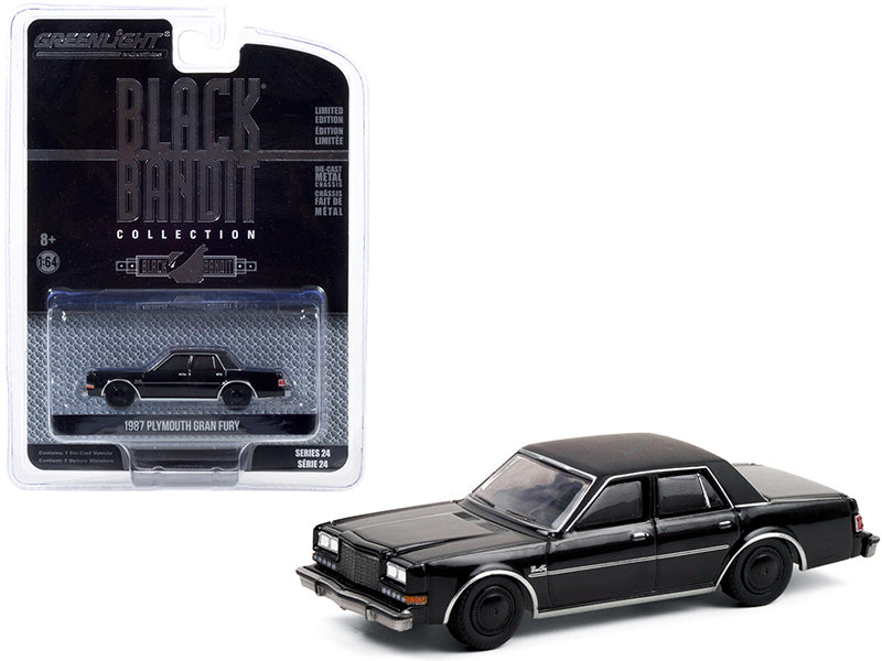 "1987 Plymouth Gran Fury ""Black Bandit"" Series 24 Diecast 1:64 Model Car - Greenlight - 28050C"