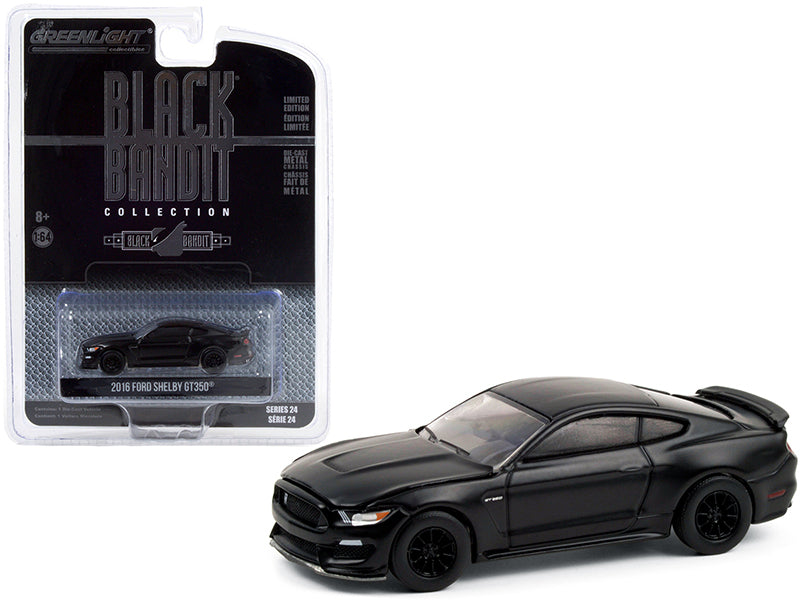 "2016 Ford Mustang Shelby GT350 ""Black Bandit"" Series 24 Diecast 1:64 Model Car - Greenlight - 28050E"