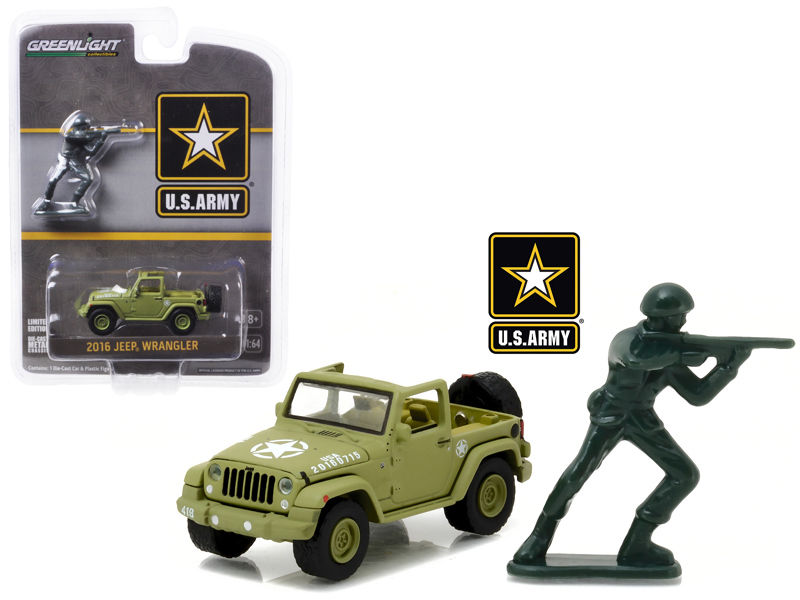2016 Jeep Wrangler U.S. Army w/ Soldier Diecast 1:64 Model - Greenlight - 29884