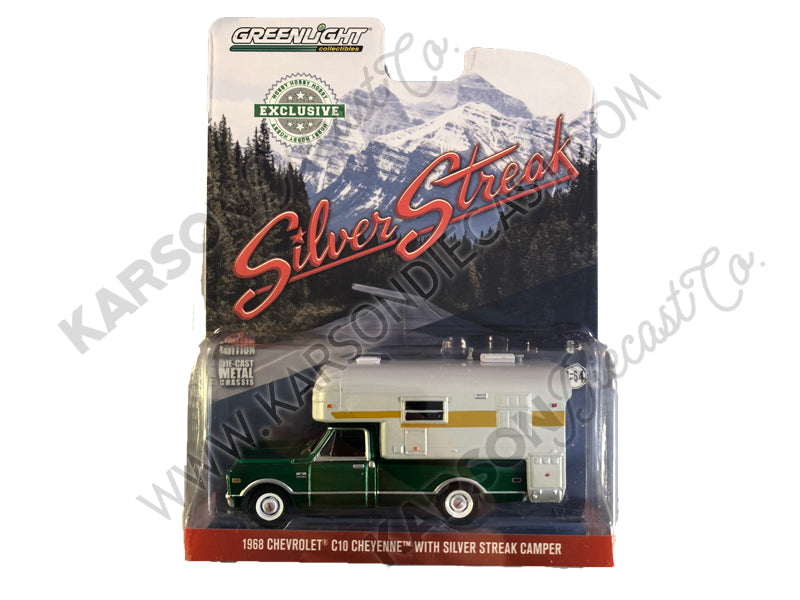 "CHASE 1968 Chevrolet C10 Cheyenne Blue with Silver Streak Camper ""Hobby Exclusive"" 1:64 Diecast Model Car - Greenlight - 29922"