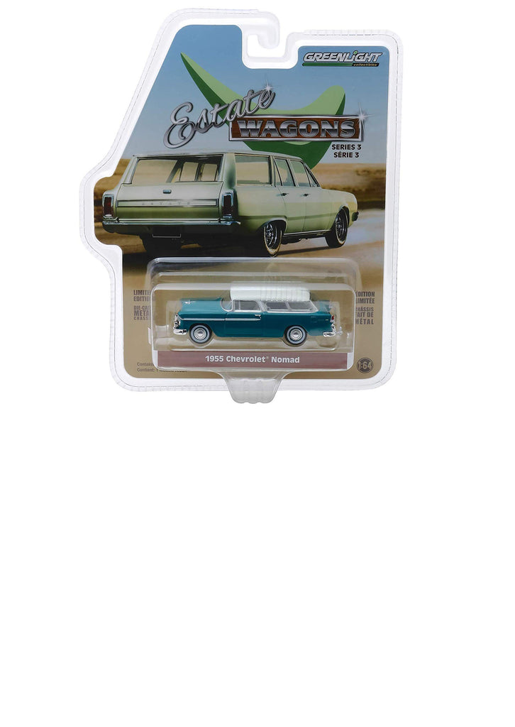 "1955 Chevrolet Nomad Regal Turquoise  ""Estate Wagons"" Series 3 1:64 Diecast Model Car - Greenlight - 29950A"