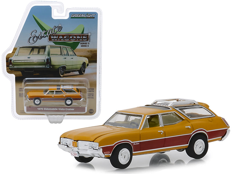 "1970 Oldsmobile Vista Cruiser w/ Wood Grain Paneling & Roof Rack Nugget Gold ""Estate Wagons"" Series 3 1:64 Diecast Model Car - Greenlight - 29950C"
