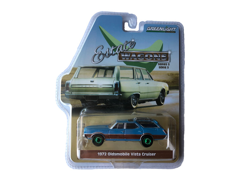 "1972 Oldsmobile Vista Cruiser w/ Wood Grain Paneling & Roof Rack Viking Blue ""Estate Wagons"" Series 3 1:64 Diecast Model Car - Greenlight -29950D - CHASE GREEN MACHINE"