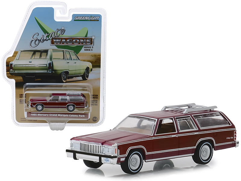"1985 Mercury Grand Marquis Colony Park w/ Roof Rack Burgundy ""Estate Wagons"" Series 3 1:64 Diecast Model Car - Greenlight - 29950F"