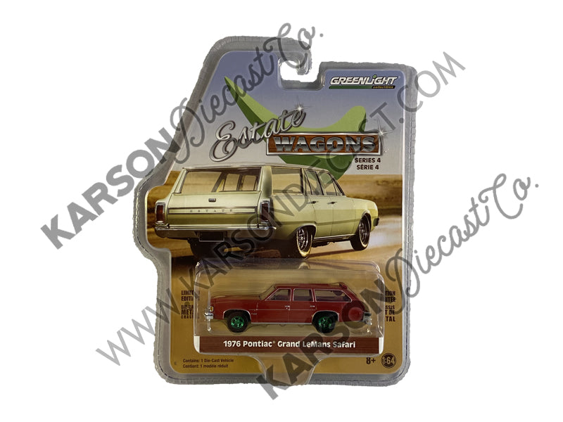 "CHASE 1976 Pontiac Grand LeMans Safari Wagon Dark Red with Red Interior ""Estate Wagons"" Series 4 Diecast 1:64 Model - Greenlight - 29970E"