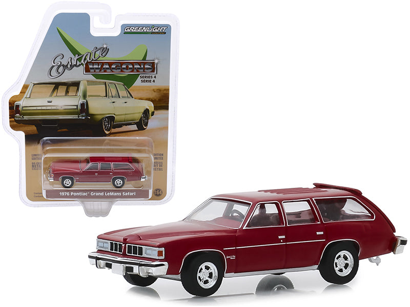 "1976 Pontiac Grand LeMans Safari Wagon Dark Red with Red Interior ""Estate Wagons"" Series 4 Diecast 1:64 Model - Greenlight - 29970E"