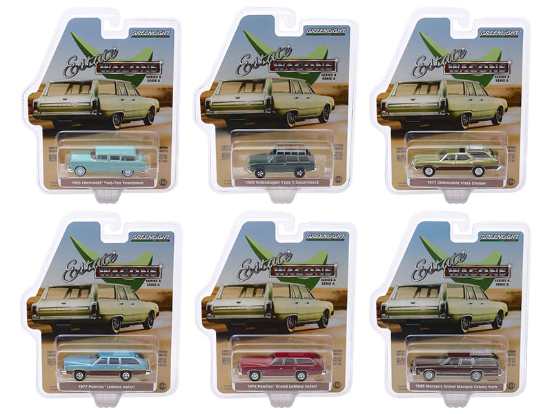 """Estate Wagons"" Series 4, 6 piece Set 1/64 Diecast Model Cars - Greenlight - 29970"