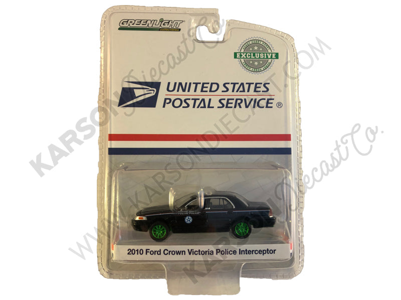 2010 Ford Crown Victoria Police Interceptor United States Postal Service (USPS) Black Hobby Exclusive 1:64 Diecast Model Car - Greenlight - 29971 - CHASE GREEN MACHINE