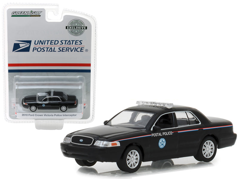 2010 Ford Crown Victoria Police Interceptor United States Postal Service (USPS) Black Hobby Exclusive 1:64 Diecast Model Car - Greenlight - 29971