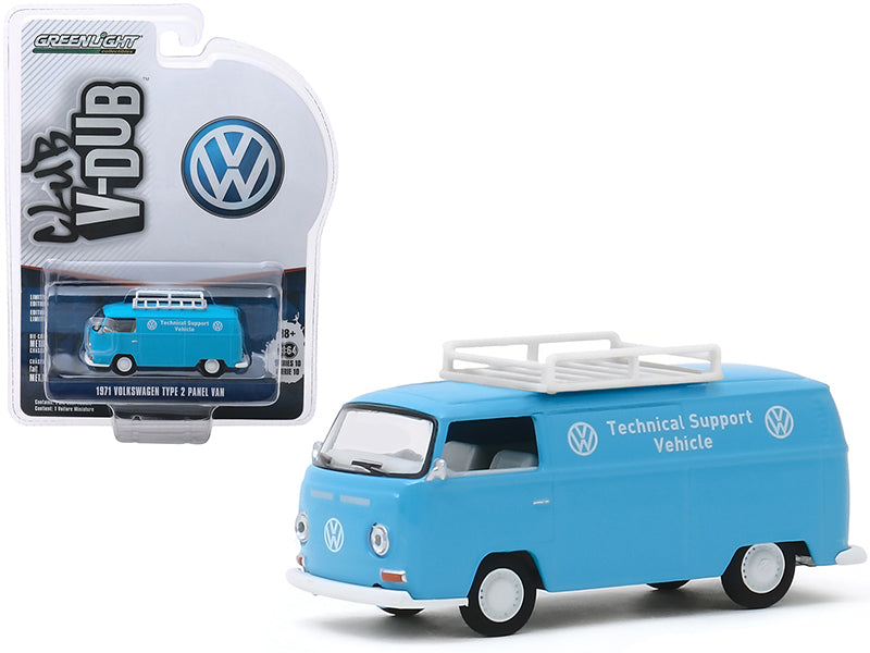 "1971 Volkswagen Type 2 Panel Van with Roof Rack ""VW Technical Support Vehicle"" Light Blue ""Club Vee V-Dub"" Series 10 1/64 Diecast Model - Greenlight - 29980A"