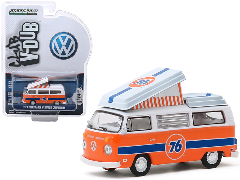 "1973 Volkswagen Westfalia Campmobile ""Union 76"" Orange and White with Blue Stripes ""Club Vee V-Dub"" Series 10 1/64 Diecast Model by Greenlight - 29980B"