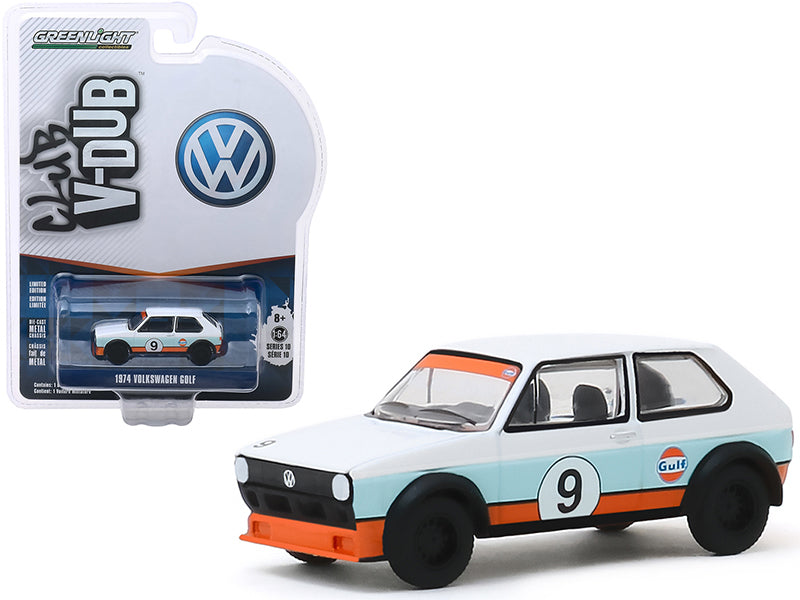 "1974 Volkswagen Golf #9 ""Gulf Oil"" White and Light Blue with Orange Stripes ""Club Vee V-Dub"" Series 10 1/64 Diecast Model Car - Greenlight - 29980C"
