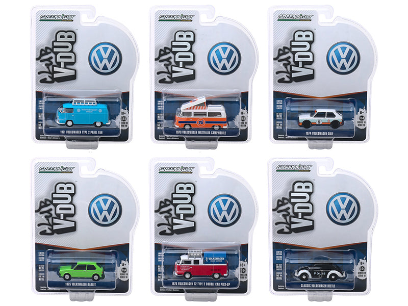 """Club Vee V-Dub"" Series 10, 6 piece Set 1/64 Diecast Model Cars - Greenlight - 29980SET"