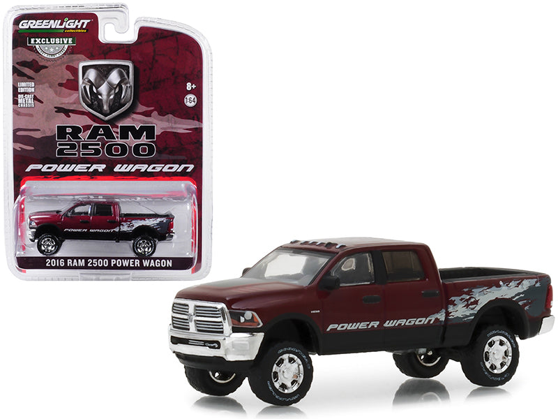 2016 Dodge Ram 2500 Power Wagon Pickup Truck Delmonico Pearl Red Hobby Exclusive 1:64 Diecast Model Car - Greenlight - 29981