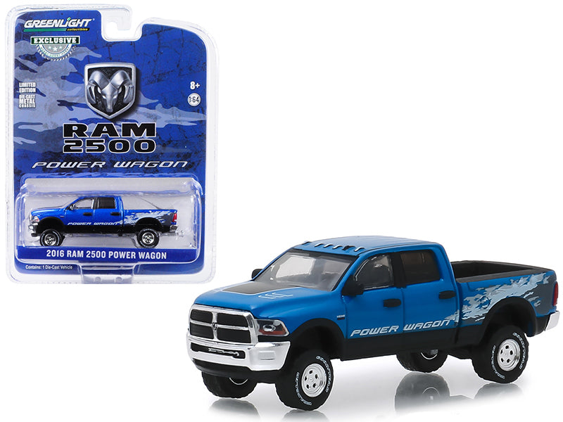 "Dodge Ram 2500 Power Wagon Pickup Truck Blue Streak Pearlcoat ""Hobby Exclusive"" 1/64 Diecast Model Car - Greenlight - 29983"
