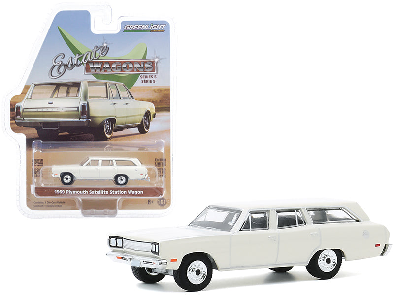 "1969 Plymouth Satellite Station Wagon Alpine White ""Estate Wagons"" Series 5 Diecast 1:64 Model Car - Greenlight - 29990B"