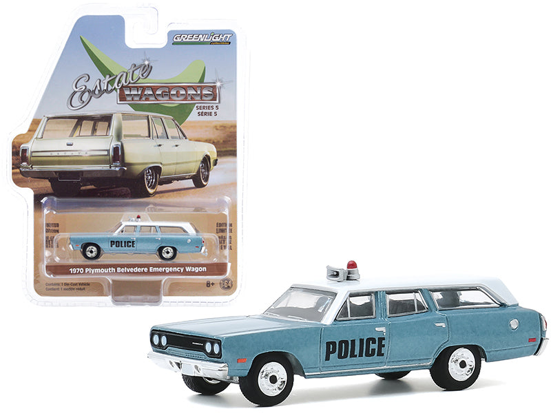 "1970 Plymouth Belvedere Emergency Wagon Police Pursuit Blue with White Top ""Estate Wagons"" Series 5 Diecast 1:64 Model Car - Greenlight - 29990C"