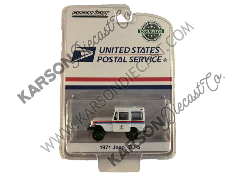 "1971 Jeep DJ-5 ""United States Postal Service"" (USPS) White Hobby Exclusive 1:64 Diecast Model Car - Greenlight - 29997 - CHASE GREEN MACHINE"