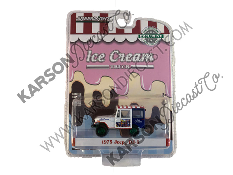 "1975 Jeep DJ-5 Ice Cream Truck ""Hobby Exclusive"" 1:64 Diecast Model Car - Greenlight - 30005 - CHASE GREEN MACHINE"