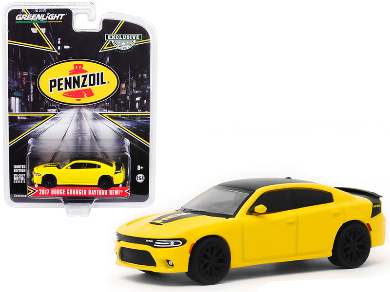 "2017 Dodge Charger Daytona HEMI Yellow with Black Top ""Pennzoil"" Advertisement Car ""Hobby Exclusive"" 1/64 Diecast Model Car - Greenlight - 30112"