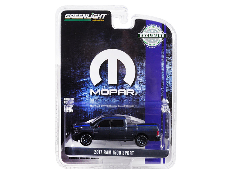 "2017 Dodge Ram 1500 Sport Pickup Truck w/ Bed Cover Metallic Dark Blue & Blue Stripe ""MOPAR"" ""Hobby Exclusive"" 1:64 Diecast Model Truck - Greenlight - 30013"