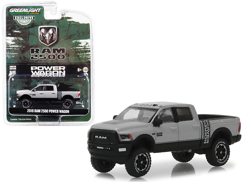 2018 Ram 2500 Power Wagon Bright Silver 1:64 Scale Diecast Model - Greenlight - 30014