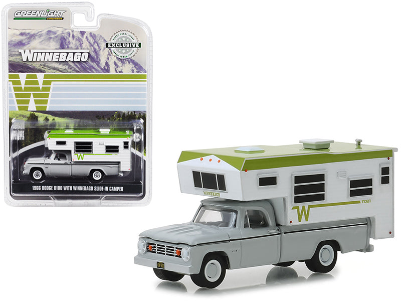 "1966 Dodge D100 Gray w/ Winnebago Slide-In Camper White & Green ""Hobby Exclusive"" 1:64 Diecast Model Car - Greenlight - 30022"
