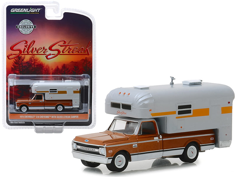"1970 Chevrolet C-10 Cheyenne Brown w/ Silver Streak Camper White ""Hobby Exclusive"" 1:64 Diecast Model Car - Greenlight - 30023"