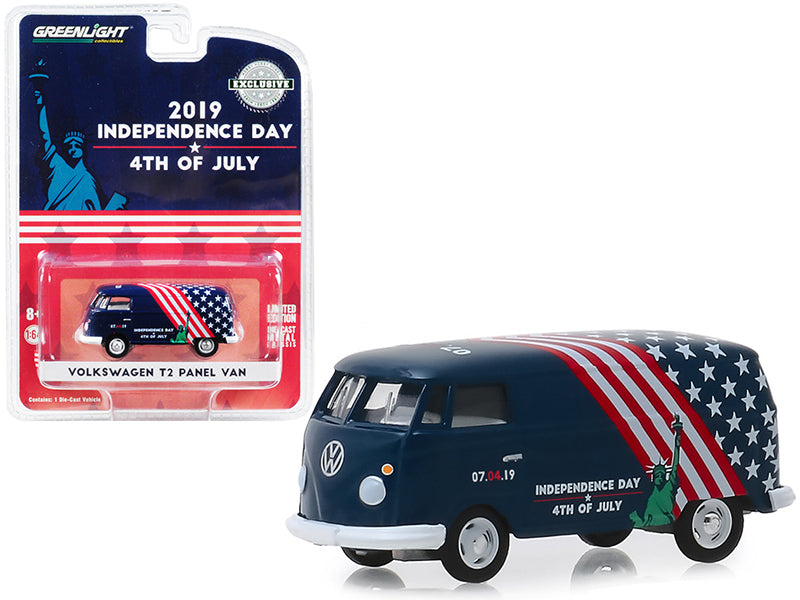 "Volkswagen T2 Panel Van ""4th of July, Independence Day 2019"" ""Hobby Exclusive"" 1:64 Diecast Model - Greenlight - 30044"
