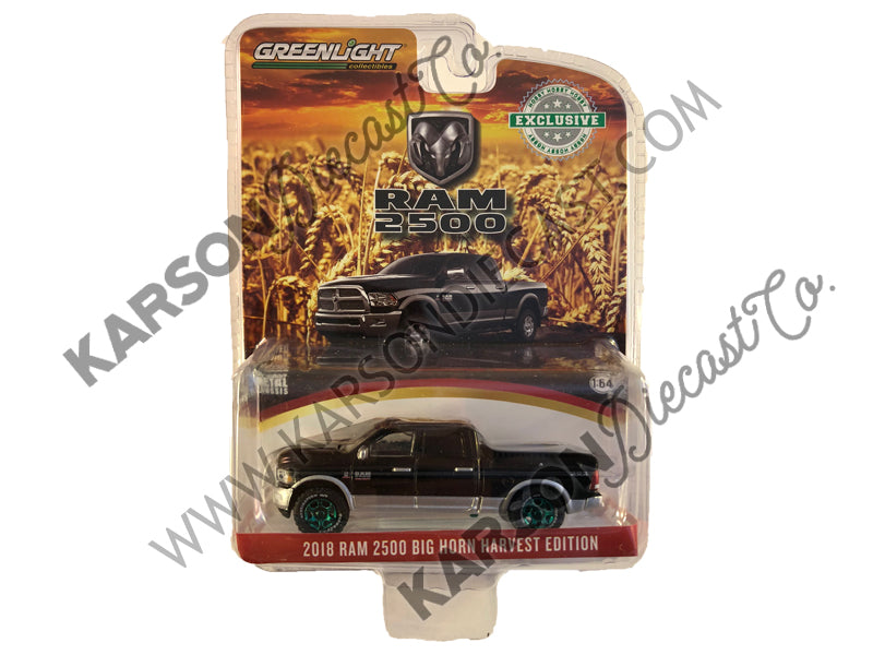 "2018 Dodge Ram 2500 Big Horn Pickup Truck Brilliant Black & Silver ""Harvest Edition"" ""Hobby Exclusive"" 1:64 Diecast Model Car - Greenlight - 30047 - CHASE GREEN MACHINE"