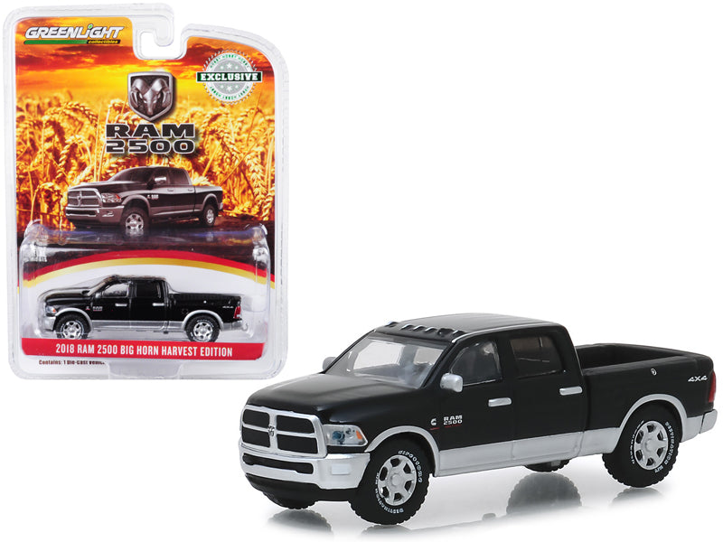 "2018 Dodge Ram 2500 Big Horn Pickup Truck Brilliant Black & Silver ""Harvest Edition"" ""Hobby Exclusive"" 1:64 Diecast Model Car - Greenlight - 30047"