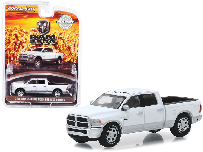 "2018 Dodge Ram 2500 Big Horn Pickup Truck Bright White & Silver ""Harvest Edition"" ""Hobby Exclusive"" 1:64 Diecast Model Car - Greenlight - 30048"