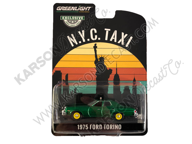 "CHASE 1975 Ford Torino Yellow ""NYC Taxi"" (New York City Taxi) ""Hobby Exclusive"" 1/64 Diecast Model Car - Greenlight - 30058"