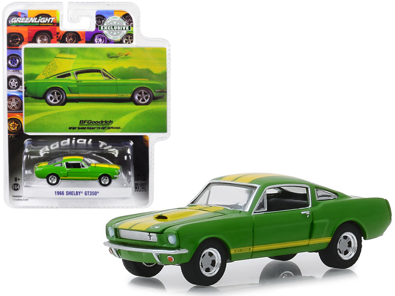 "1966 Ford Mustang Shelby GT350 Green w/ Yellow Stripes ""When You're Ready to Get Serious"" BFGoodrich Vintage Ad Cars ""Hobby Exclusive"" 1:64 Diecast Model Car - Greenlight - 30060"