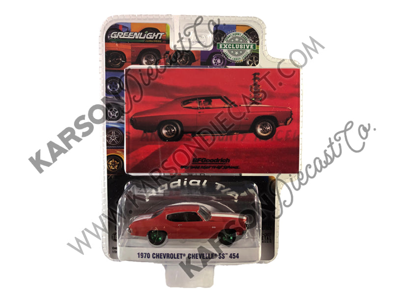 "1970 Chevrolet Chevelle SS 454 Red w/ White Stripes ""When You're Ready to Get Serious"" BFGoodrich Vintage Ad Cars ""Hobby Exclusive"" 1:64 Diecast Model Car - Greenlight - 30061 - CHASE GREEN MACHINE"
