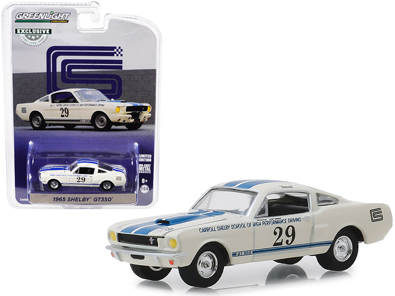 "1965 Shelby GT350 #29 White w/ Blue Stripes ""Carroll Shelby School of High Performance Driving"" ""Hobby Exclusive"" 1/64 Diecast Model Car - Greenlight - 30064"