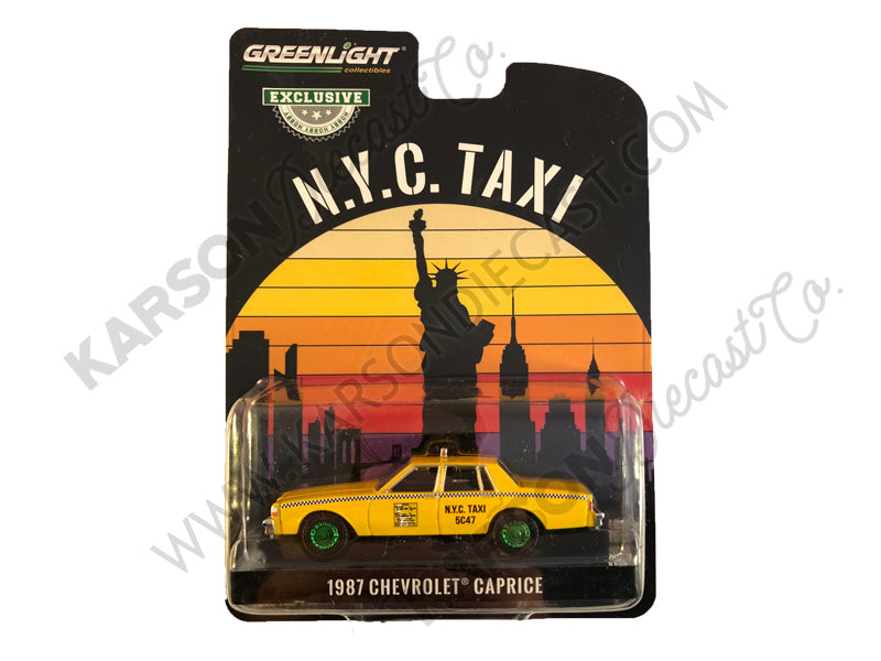 "CHASE 1987 Chevrolet Caprice Yellow ""N.Y.C. Taxi"" (New York City Taxi) ""Hobby Exclusive"" 1/64 Diecast Model Car - Greenlight - 30077"