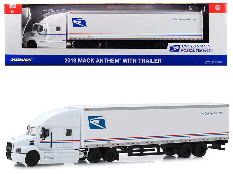 "2019 Mack Anthem 18 Wheeler Tractor-Trailer ""USPS"" (United States Postal Service) ""We Deliver For You"" 1/64 Diecast Model - Greenlight - 30090"