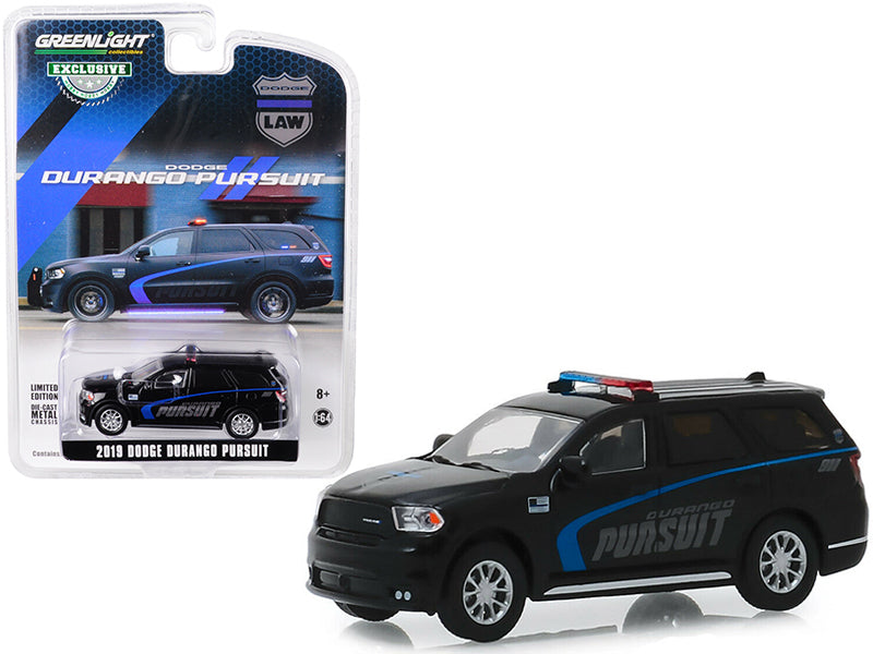 "2019 Dodge Durango Pursuit Police SUV Black ""Hobby Exclusive"" 1/64 Diecast Model Car - Greenlight - 30098"