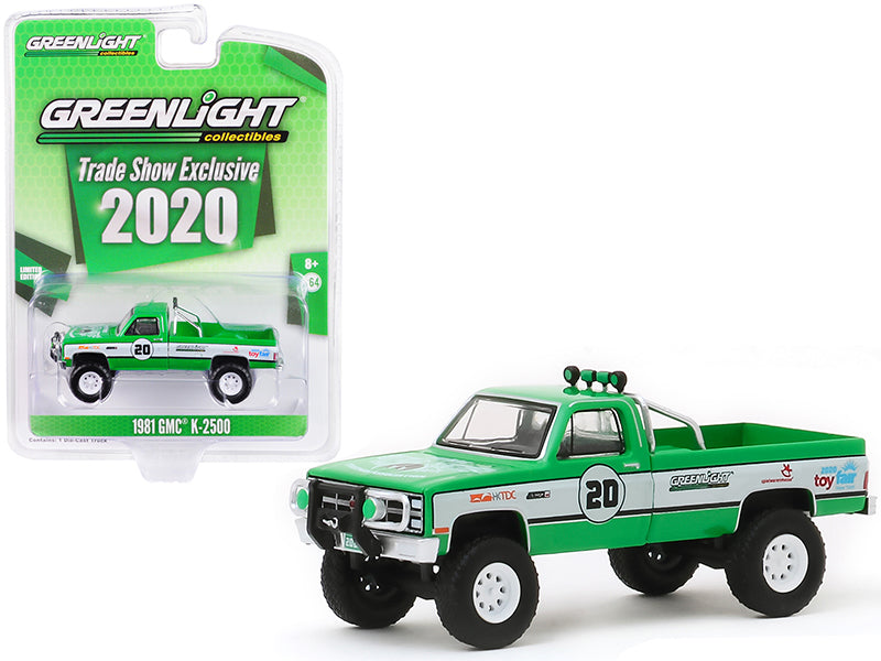 "1981 GMC K-2500 Pickup Truck #20 Green and White ""GreenLight Stuntman Association"" ""2020 GreenLight Trade Show Exclusive"" 1/64 Diecast Model Car - Greenlight - 30102"