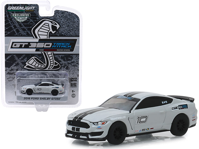 "2016 Ford Mustang Shelby GT350 #10 Avalanche Gray with Black Stripes ""Ford Performance Racing School"" GT350 Track Attack ""Hobby Exclusive"" 1/64 Diecast Model Car - Greenlight - 30108"