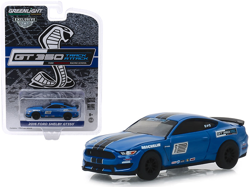 "2016 Ford Mustang Shelby GT350 #12 Deep Impact Blue with Black Stripes ""Ford Performance Racing School"" GT350 Track Attack ""Hobby Exclusive"" 1/64 Diecast Model Car - Greenlight - 30109"