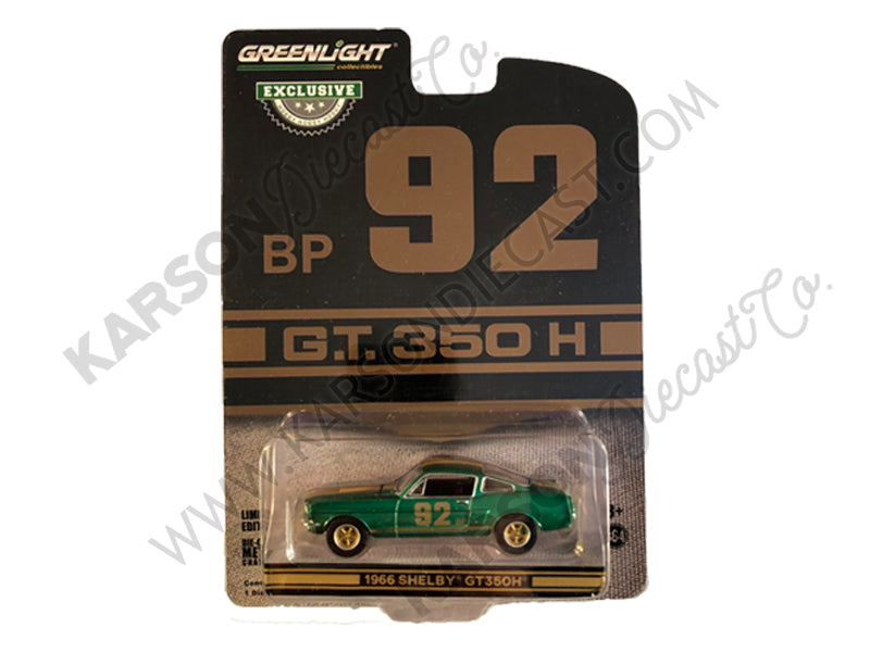 CHASE 1966 Ford Mustang Shelby GT350H #92 BP Black with Gold Stripes Hobby Exclusive 1:64 Diecast Model Car - Greenlight - 30123