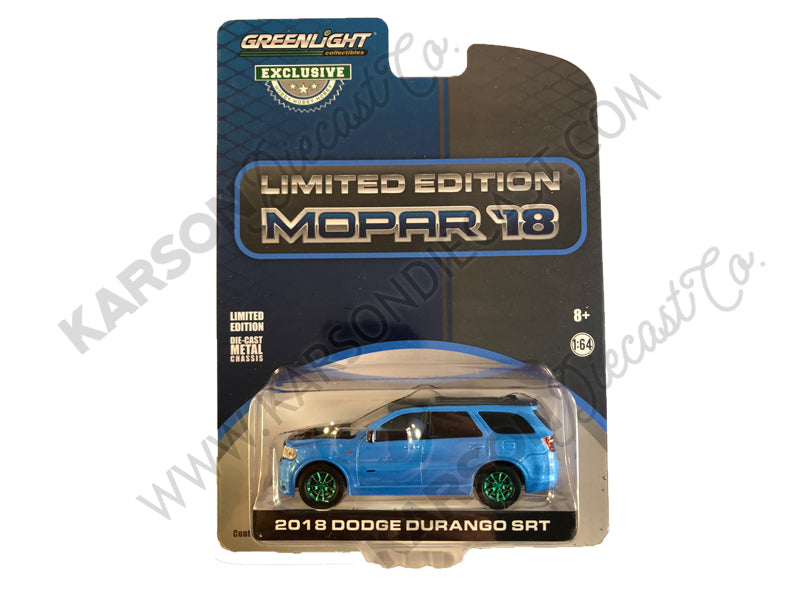 "CHASE 2018 Dodge Durango SRT Blue Pearl Coat and Black Limited Edition Mopar '18 ""Hobby Exclusive"" 1:64 Diecast Model Car - Greenlight - 30130"