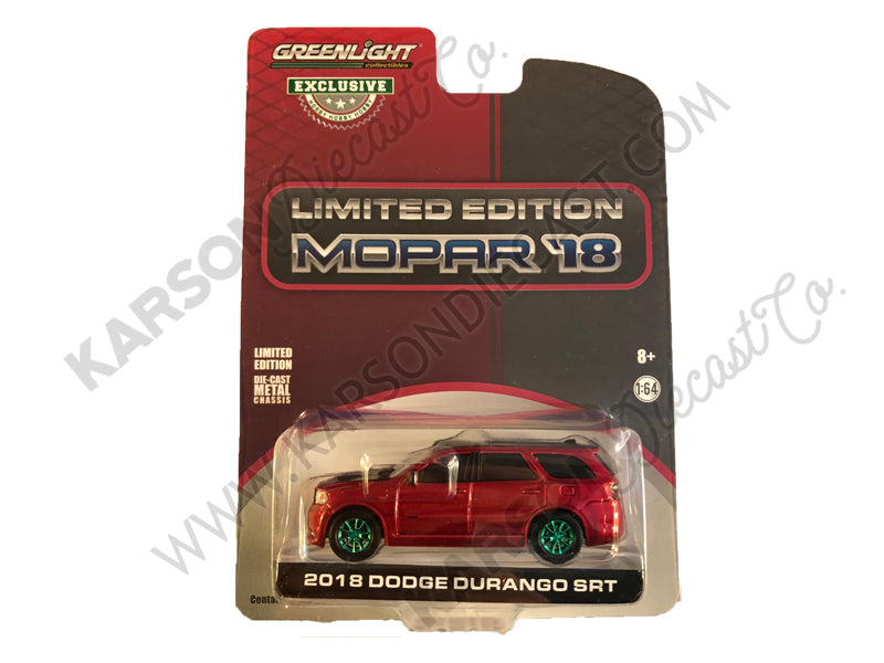 "CHASE 2018 Dodge Durango SRT Octane Red and Black Limited Edition Mopar '18 ""Hobby Exclusive"" 1:64 Diecast Model Car - Greenlight - 30131"