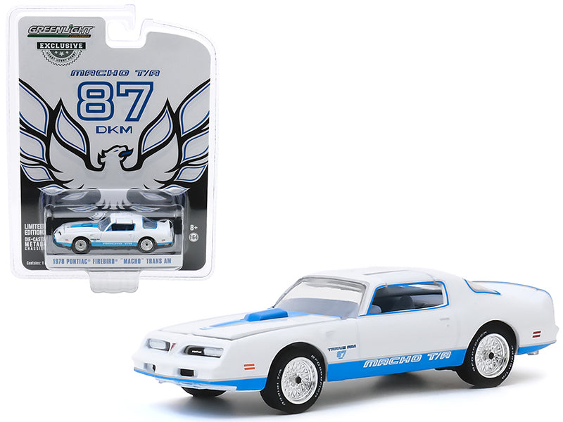 "1978 Pontiac Firebird ""Macho"" Trans Am #87 by Mecham Design White w/ Blue Stripes ""Hobby Exclusive"" 1:64 Diecast Model - Greenlight - 30150"