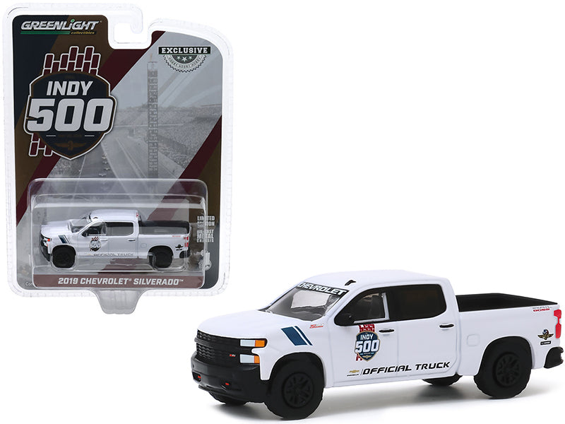 "2019 Chevrolet Silverado 1500 Trail Boss Pickup Truck White ""103rd Running of the Indianapolis 500 Official Truck"" ""Hobby Exclusive"" 1:64 Diecast Model - Greenlight 30163"