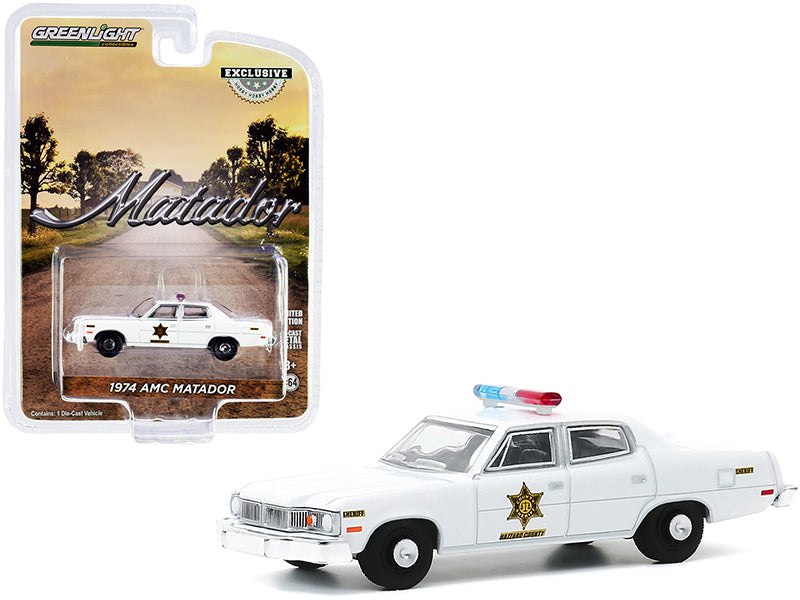 "1974 AMC Matador White ""Hazzard County Sheriff"" ""Hobby Exclusive"" 1:64 Diecast Model Car - Greenlight - 30177"
