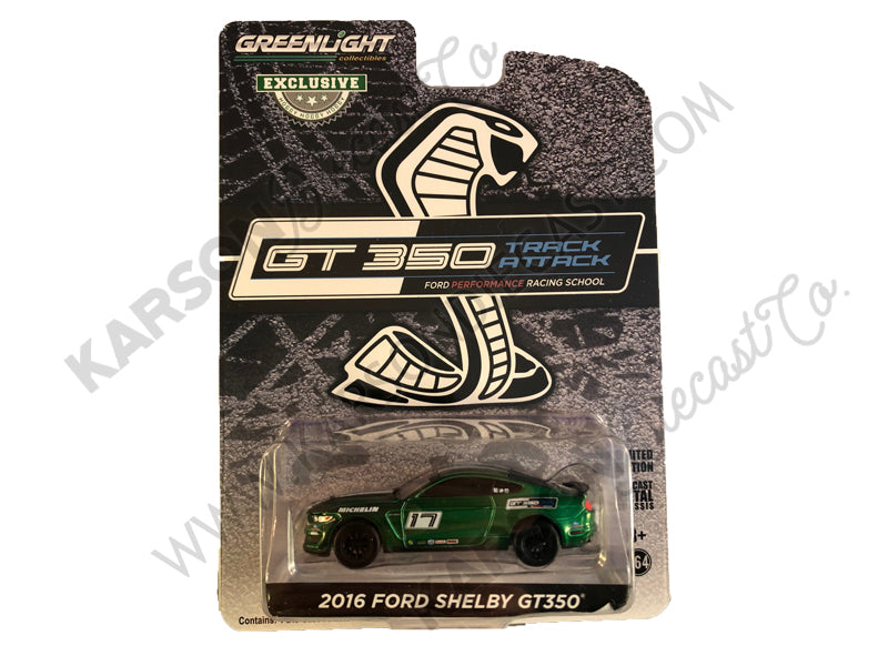 "CHASE 2016 Ford Mustang Shelby GT350 #17 Shadow Black with White Stripes ""Ford Performance Racing School"" GT350 Track Attack ""Hobby Exclusive"" 1:64 Diecast Model Car - Greenlight - 30191"