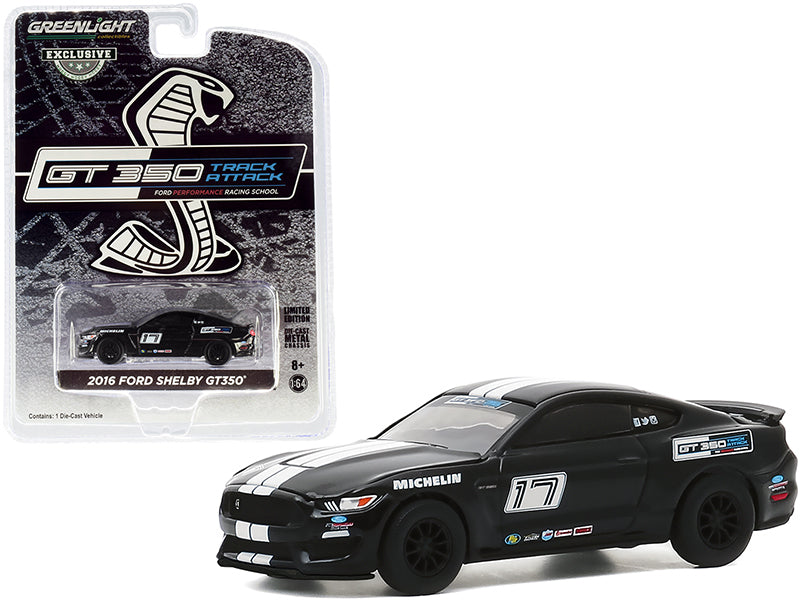 "2016 Ford Mustang Shelby GT350 #17 Black ""Ford Performance Racing School"" Track Attack ""Hobby Exclusive"" 1:64 Diecast Model - Greenlight - 30191"